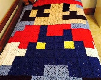 ON SALE! Custom Hand Crocheted 8 bit Mario Quilt Granny Square Blanket