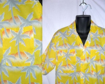 Vintage 70s 80s Hawaiian shirt / tropical tiki / ethnic tribal button up / 1970s mens 1980s unisex ... S M L / chest 42