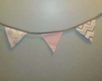 Pink, Gray and White Fabric Bunting