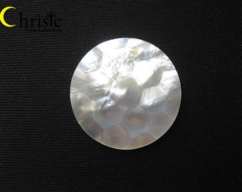 Carved Mother of Pearl Hexagon Pattern round cabochon 32.5mm