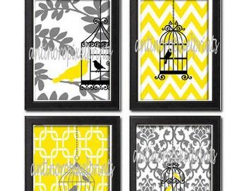 Spring Yellow Greys Bird Cage Prints Modern Art Print  - Set of (4) 8x10 (Unframed)