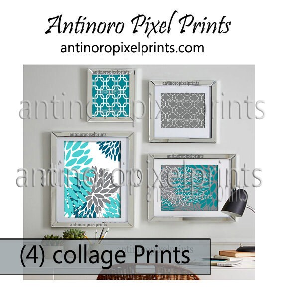 Home decorations teal grey turquoise ikat damask art wall - Turquoise decorations for home ...