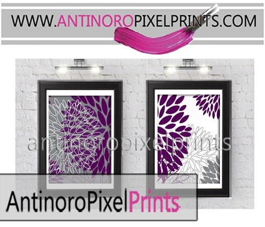 Purple And Black Bathroom: Floral Plum Purple Grey Black Bathroom Wall Art Picture