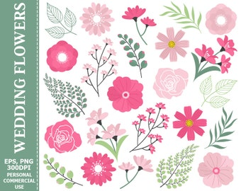 70% OFF SALE Wedding Pink Flowers Clip Art - Leaves, Flowers, Pink, Green, Lily, Branch Clip Art