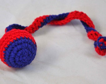 New England Patriots - Crochet Cat Toy - Jingle Ball Snake - Houston Texans Cat Toy - Homemade Cat Toy - Unique Cat Toys - Cat Ball - L2