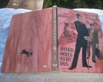 Around The World in Eighty Days  By Jules Verne 1969  :)Vintage Book,Old Book,
