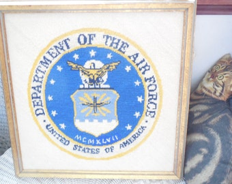 Air Force, Military, Soldier, Department of  Air Force Embroidery Picture, Vintage Home Decor, Vintage  Embroidery Picture, Military Decor