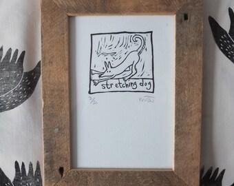 Stretching Dog original lino print