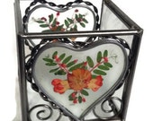 Vintage Leaded Glass Heart Pressed Flowers Candle Holder, Heart Candle Holder, Love, Heart Light, Glass and Metal, by colonialcrafts on Etsy
