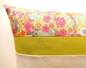 "Gardens and Green grass Liberty of London zippered pillow cover 12 X 21 ""- Green linen, natural linen and beautiful Liberty of London"
