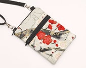 iPhone 6 Plus Crossbody Bag, Samsung S5  Purse, Cell Phone Purse,Fabric Travel Small Cross Body W/Strap - grey and red cherry blossoms