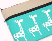 """13 inch laptop case for MacBook Pro 13"""", Macbook Air 13"""" sleeve, laptop bag zipper pocket, padded with foam, white giraffes in turquoise"""