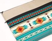 "13"" Laptop Sleeve, Handmade Fabric Macbook Pro 13"" Case, 13 inch Macbook Air Cover, Macbook Pro Bag - blue, orange tribal, Aztec, Navajo"