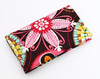 Business card case holder, handmade colorful mini wallet, bright floral small women's wallet, fabric card organizer - carnival blooms