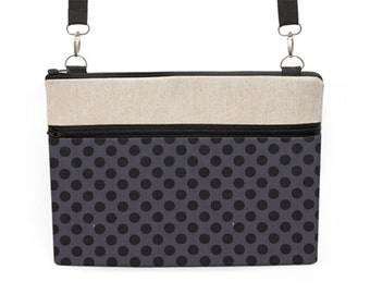 """15"""" Laptop sleeve with strap, 13"""" Laptop Shoulder Bag, Padded Macbook Pro Briefcase, 11"""" Mac Crossbody Bag - black and grey dots"""
