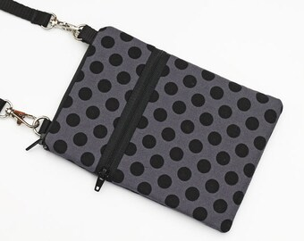 Travel Cell Phone Purse, Small Cross Body Bag for Passport, iPhone 6 Sling Bag, Samsung Galaxy S4 Crossbody  - black and grey dots