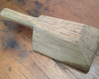 Laundry Washboard Wood Tool, Antique French Rustic Solid Wood Primitive Laundry Tool