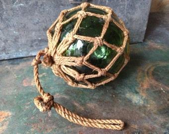 Antique Handblown Green Glass Fishing Float ~ Net