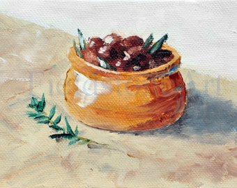 original oil painting miniature art 4x6 olives on canvas panel