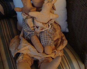 Primitive Folk Rabbit. Cloth, Mother Doll, With Her Two Babies