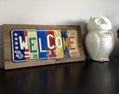 WELCOME sign - vintage barn wood - reclaimed license plates- license plate sign - license plate art