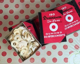 Dennison Reinforcements / Vintage 150 Dennison Deluxe Gummed Reinforcements for Journals, Altered ARt, Tags, Mixed Media, Collage, Etc.