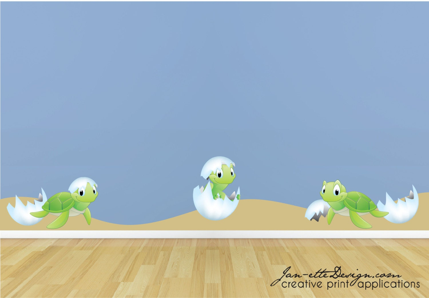 Beach wall decalsturtle wall decals baby hatching turtles for Beach wall mural sticker