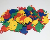 100 Elephants Die Cuts/Confetti in Primary Colors/Party Supplies No. 285