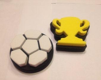2 piece Soccer stamp set, 35-40 mm (BR6)
