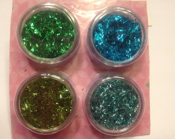 set of 4 extra fine tinsel glitter in green / blue tones (K22)