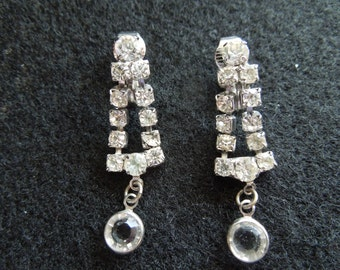Vintage Clip Earrings, Rhinestone Dangle Type, Excellent Condition.