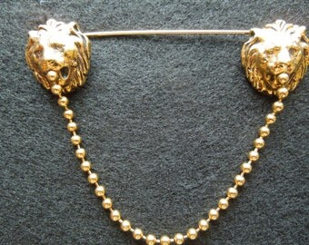 Vintage Anne Klein Pin / Brooch, Gold Toned Lion's Heads.  Excellent Condition