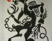 "Linocut Print- Krampus on 9""x12"" Japanese Paper"