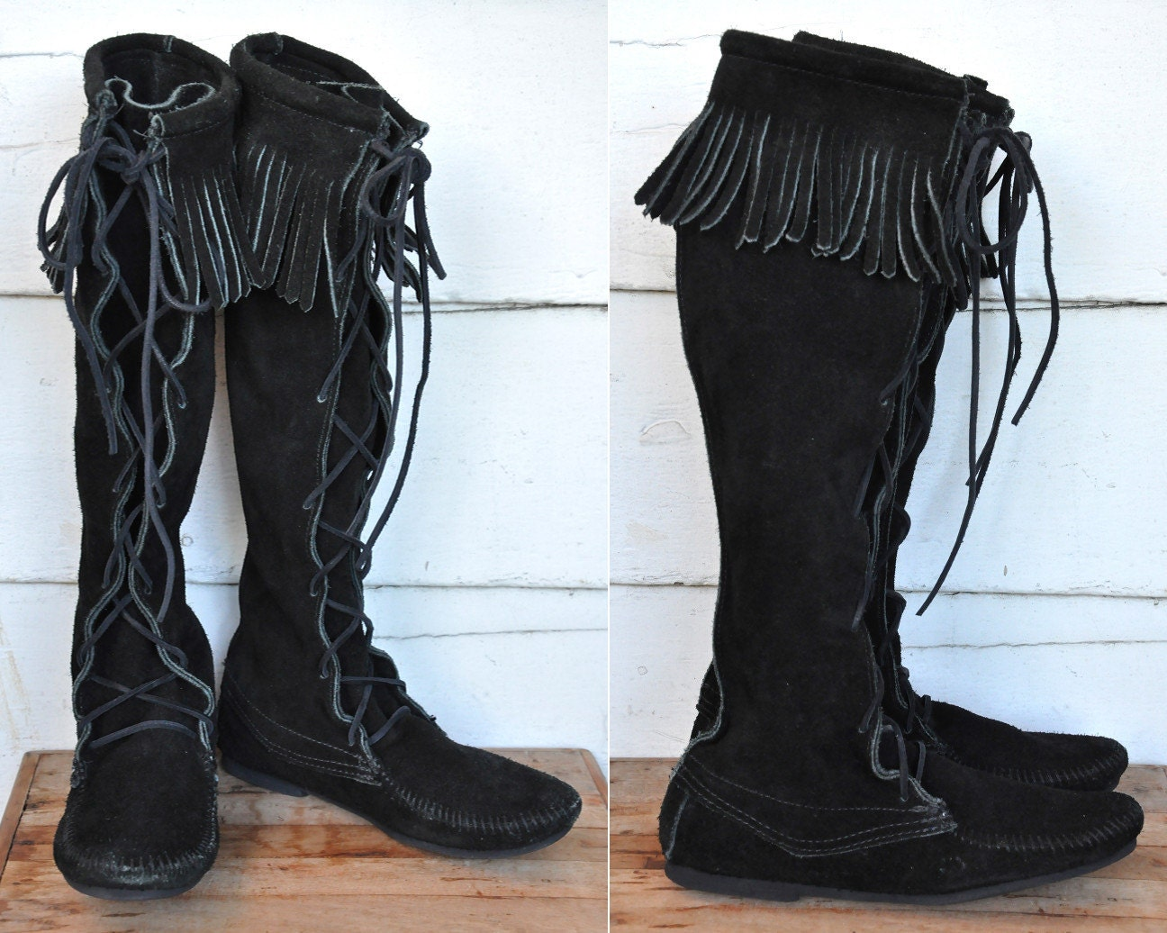 Minnetonka suede leather knee high tall lace up moccasin fringe boots - Like This Item