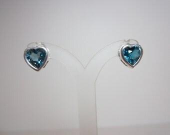 Brazilian London Blue Topaz Heart Earrings
