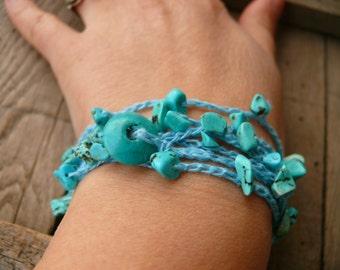Turquoise bracelet necklace, turquoise chips gemstone, crochet linen bracelet, Bohemian Boho romantic, crochet bracelet, december birthstone