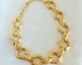 Vintage Gold Necklace Large Statement Link