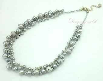 Light grey freshwater pearl,silver plated beads on silk necklace.