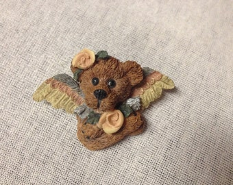 Vintage Teddy Bear with Angel Wings and Floral Pin/Brooch