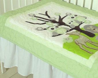 Woodland Blanket, Green Quilt Blanket, Green and Gray Patchwork Blanket