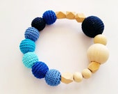 Teething Toy with Crochet  Beads. Wooden Rattle. Teething Ring