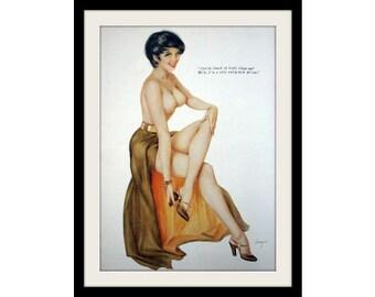 ALBERTO VARGAS Nose Art Pinup, Vintage Female Nude Mature Print