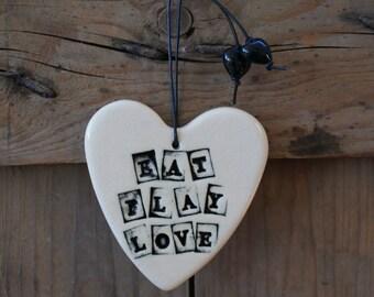 Eat Play Love ceramic heart in black