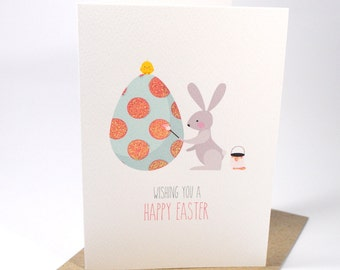Easter Card - Rabbit painting egg - EAS007 - Happy Easter Card