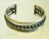 Vintage Braided Rope Sterling Silver Cuff Bracelet