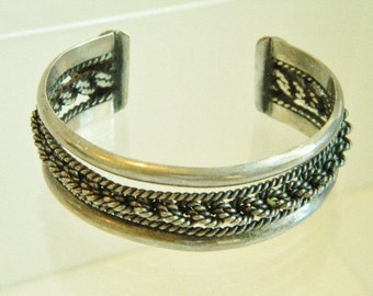 Vintage Braided Rope Sterling Silver Cuff Bracelet