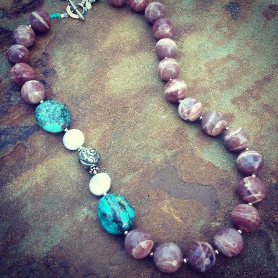 Rhodochrosite with Freshwater Pearls and Genuine Turquoise Statement Necklace and Earring Set