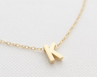 Tiny Gold Initial Necklace - tiny letter necklace - delicate gold necklace - delicate gold jewelry - Christmas gift for her // Upper Case