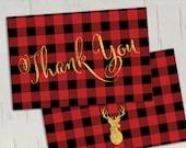 Buffalo Plaid Deer Gold Glitter Folded Thank You Card || INSTANT DOWNLOAD || Folded Card Blank Inside