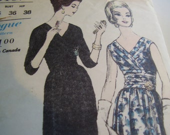 Vintage 1960's Vogue 5467 Dress Sewing Pattern, Size 16, Bust 36